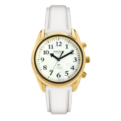 Robin talking watch with mother of pearl effect face and white strap
