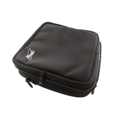 Black padded carrying case with strap against a white background