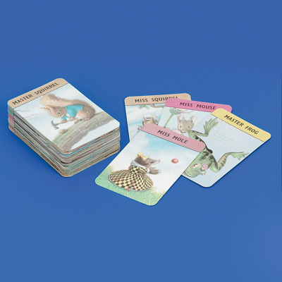 Happy families playing cards on a blue background