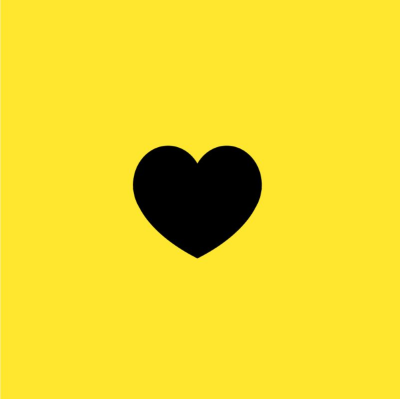 Black heart on a yellow background.