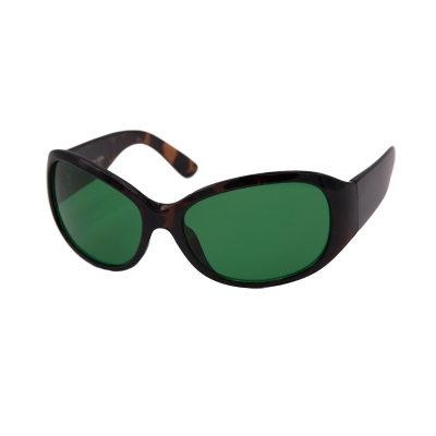 Migralens eyeshields with tortoiseshell frames and a green filter