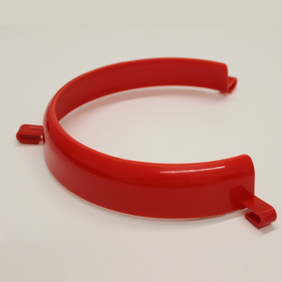 Red plate surround against a light background