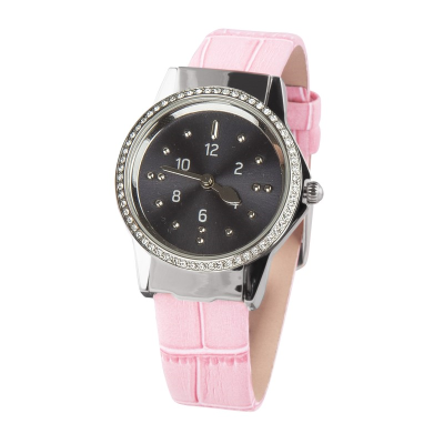 A stainless steel ladies watch with pink leather strap and charcoal toned dial
