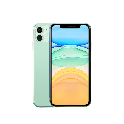 Green Apple iPhone 11 128GB front and back of phone shown.
