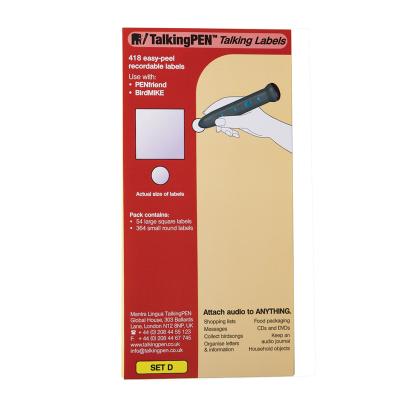 Packet of white labels for RNIB Penfriend