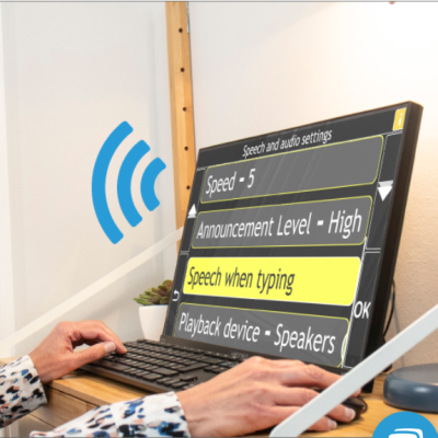 Laptop showing GuideConnect menu icons.