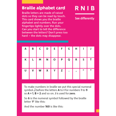 A pink braille alphabet card
