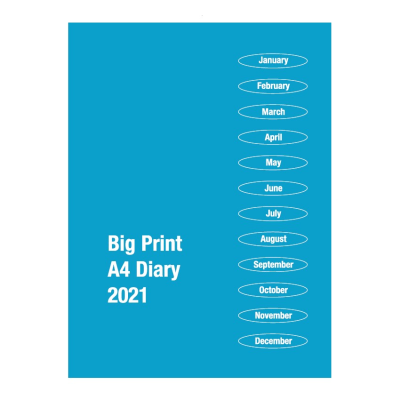 Front cover of 2021 Big Print A4 diary