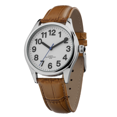 Top angle of easy-to-see gents watch with brown crocodile-effect strap