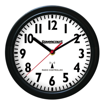 Wall clock with wide black trim, white face and clear black numbers