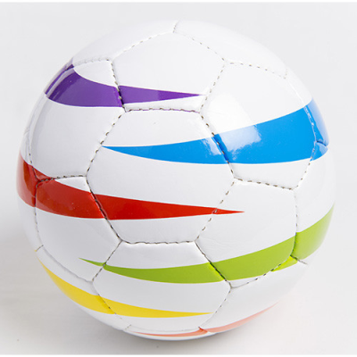 Rainbow football with horizontal flashes of colour on a white base.
