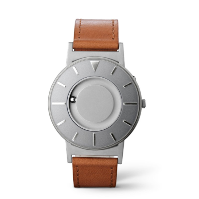 Face on Bradley tactile watch with stainless steel face has a brown leather strap