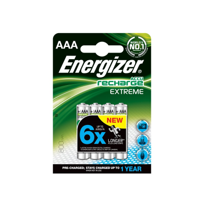 Four rechargeable AAA batteries in packaging