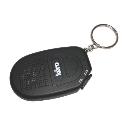 Front view of a black light detector attached to a key ring
