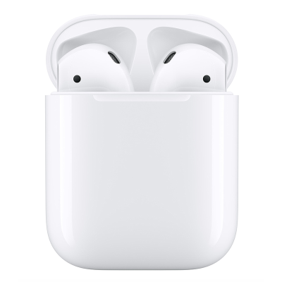 Apple AirPods inside charging case.