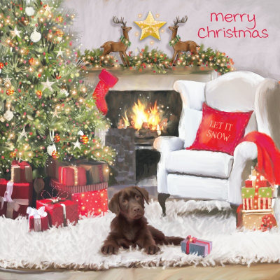 Puppy's fireside Christmas, front view of card