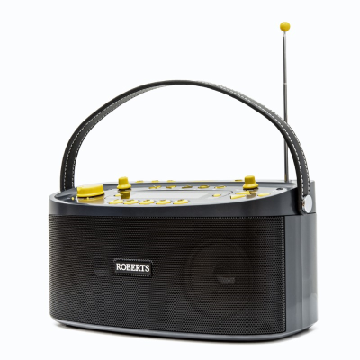 Top front view of a black radio with a handle and aerial extended