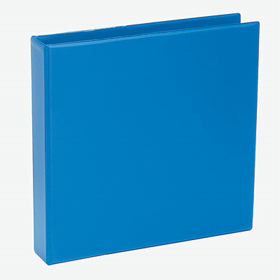 An upright blue ring binder