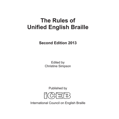 Front cover for rules of unified english braille