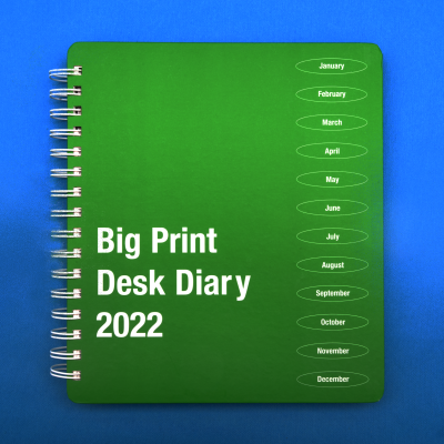 Front cover of Big Print desk diary
