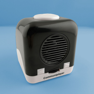 Speaker grill and function buttons on the front of the RNIB Communiplayer