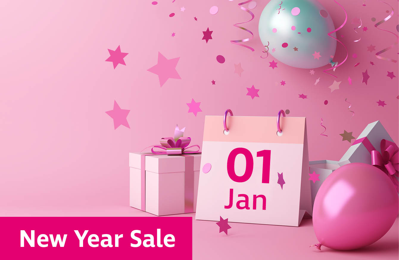 Calendar showing 1st January with balloons and gift boxes