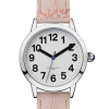 Face on angle of say-to-see small watch with pink PU crocodile-effect strap