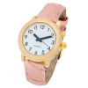 Top angle view of the RNIB Ladies talking watch with pink leather strap