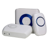 All three supplied parts: the doorbell, a flashing chime unit and a vibrating pager
