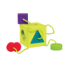 A bright sensory shape sorter with four textured, tethered shapes