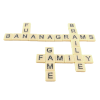 Bananagrams tiles in a grid