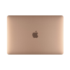 Gold MacBook Air 256GB closed showing Apple logo.