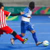 Rainbow blind football in play at the Pan-American Games in 2019.