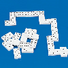 White dominoes with raised black dots on a blue background