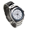 Top angle of steel talking watch with a stainless steel bracelet strap
