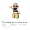 DK Braille Book Lego Duplo Farm inside page showing the farmer