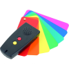 Colorino colour detector positioned on top of a group of coloured plastic cards