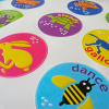 Close up of the stickers