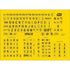 Large print keyboard stickers with black text on yellow background