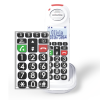 Front view of Swissvoice Xtra 8155 Handset keypad in focus with phone behind