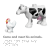 DK Braille Book Lego Duplo Farm inside page showing a chicken and cow