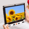Clover 10 portable video magnifier with a picture of sunflowers on the screen