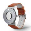 Close up Bradley tactile watch with stainless steel face has a brown leather strap