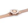 Top view of stylish tactile watch with silver-coloured and rose gold-coloured features