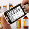 A person reading medicine bottles on 3 Inch handheld video magnifier