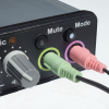 Image of the back of the Duo-Comm 2 splitter box audio mixer with the connecting wires