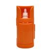 Closed orange eye-drop dispenser with eye-drop bottle held inside