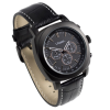 Top angle of black talking watch with a black leather strap with white stitch detailing