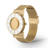 Side view of stylish tactile watch with gold-coloured features