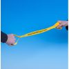 Running tether held by hands at either end against a blue background